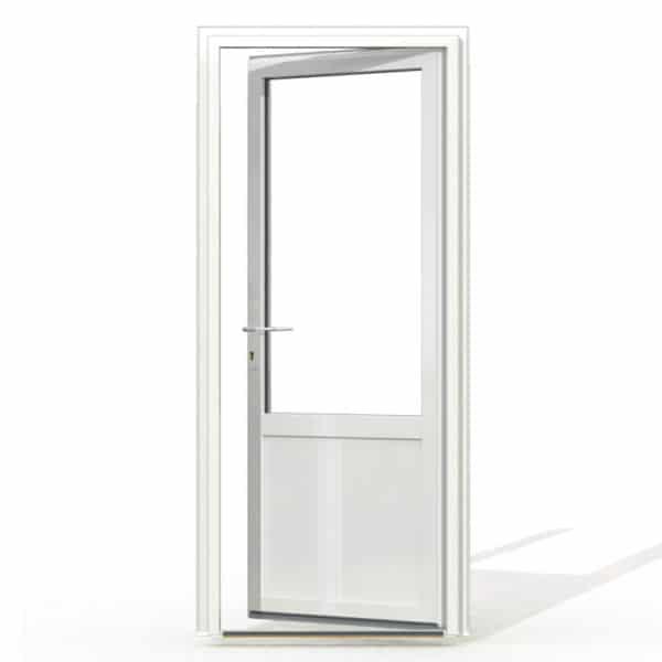 PF1 PVC avec soubassement blanc exterieur avec seuil et serrure 215x90