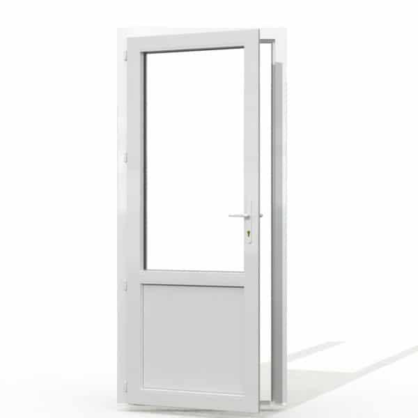 PF1 PVC avec soubassement blanc interieur avec seuil et serrure 215x90
