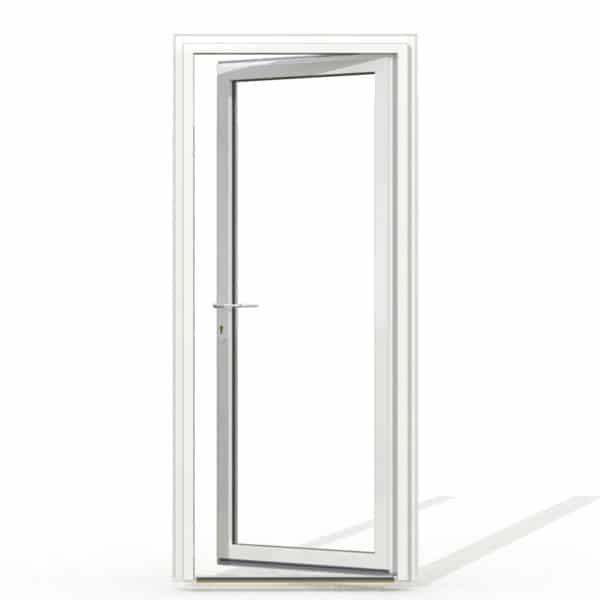PF1 PVC sans soubassement blanc exterieur avec seuil et serrure 215x90