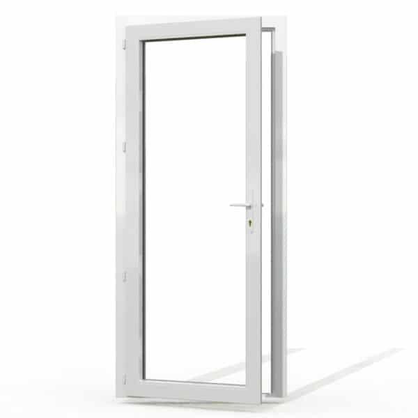 PF1 PVC sans soubassement blanc interieur avec seuil et serrure 215x90