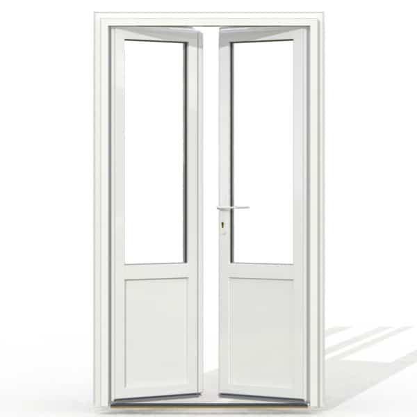 PF2 PVC avec soubassement blanc exterieur avec seuil et serrure 215x120
