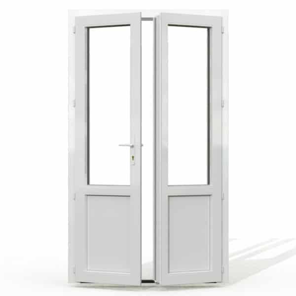 PF2 PVC avec soubassement blanc interieur avec seuil et serrure 215x120
