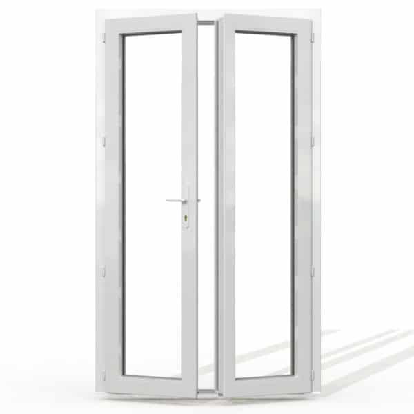 PF2 PVC sans soubassement blanc interieur avec seuil et serrure 215x120