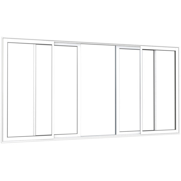 Coulissant alu 2 rails 4 vantaux blanc exterieur