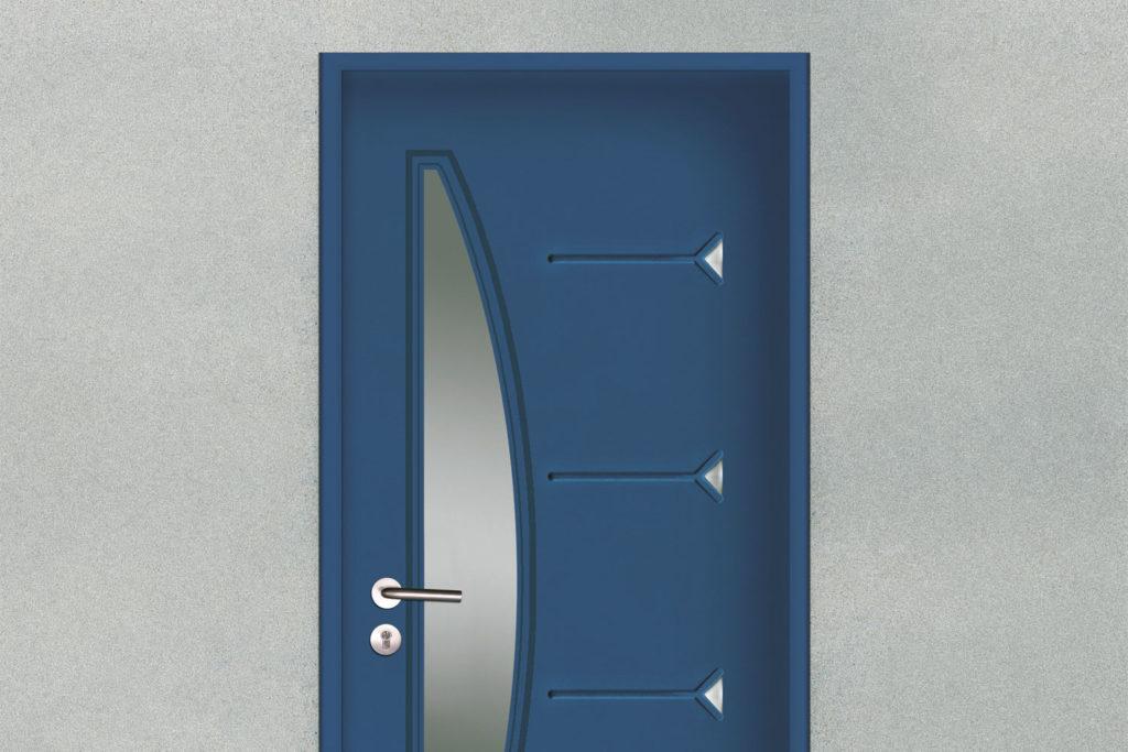 Porte d'entrée acier contemporaine