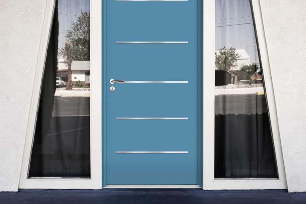 Porte d'entrée contemporaine bleu en acier