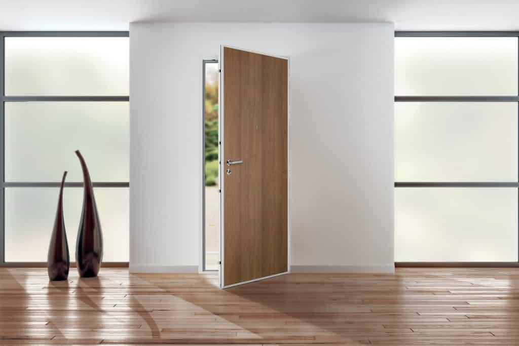 Porte d'entrée acier haute sécurité imitation bois