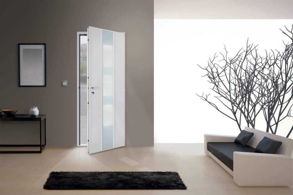 Porte d'entrée acier haute sécurité vue intérieure
